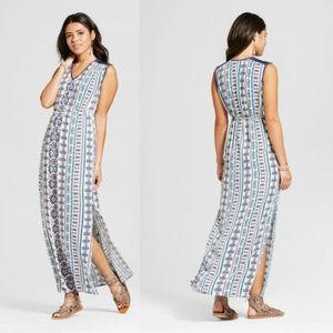 Tribal Aztec Print Maxi dress lace cap sleeve S